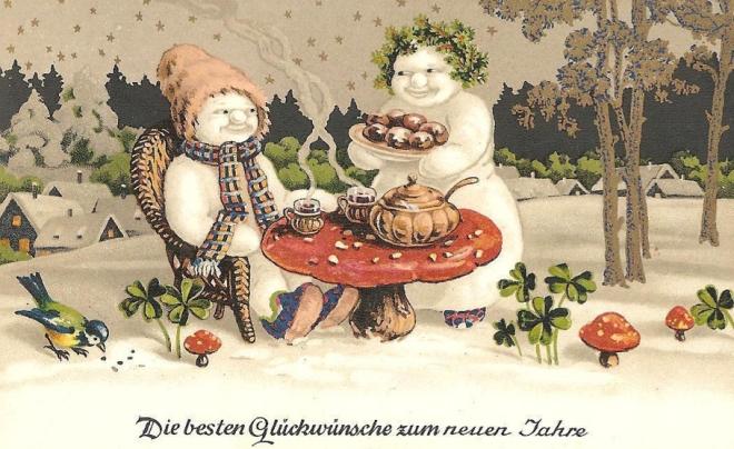 New Year Tea Snowmen