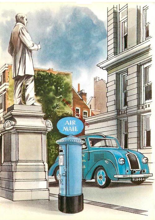 Blue Air Mail Postbox