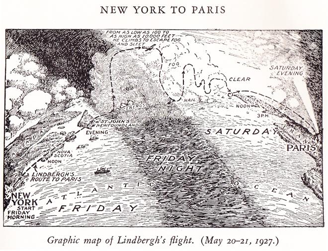 Lindbergh s flight by frank godwin read seen heard for New york to paris flights