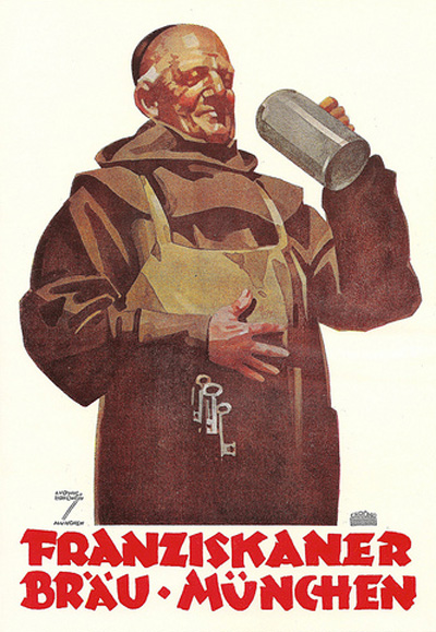 Franziskaner Brau-Munchen - German beer advert - illustrated by